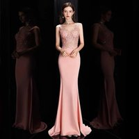 Party Dresses Pink V-neck Evening Dress Mermaid 2021 Elegant Sleeveless Long Banquet Formal Prom Gowns For Wedding Reunion Birthday