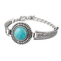 Grânulos redondos femininos Tibetan prata turquesa link corrente pulseiras gstqb033 moda presente estilo nacional mulheres bracelete