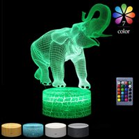Table Lamps 3D Night Light For Kids Elephant Led Illusion Lamp Desk Lights Children Gifts Toys 7 Colors Changing With Touch Remote Control
