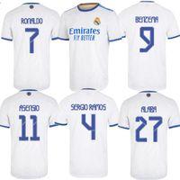 벤제 메이드 레알 마드리드 축구 유니폼 2021-22 홈 알라바 세르지오 라모스 축구 셔츠 Asensio Kroos Modic Men Kit