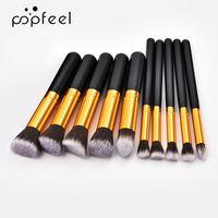 POPFEEL 10 Parça Altın Makyaj Fırça Seti Yüksek Kalite Ahşap Kolu Alüminyum Tüp Naylon Yün Kozmetik Fırçalar Kiti