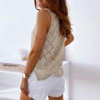 Women's Tanks & Camis Summer V-neck Hollow Wild Vest Sweater Ladies Top T-shirt Suspender