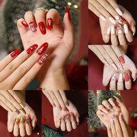 False Nails 24 Pcs Box DIY Almond Ballerina Christmas Stiletto Fake Full Cover Nail Tips Press On Detachable