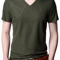 LiseAven Men's Camisetas Nova Chegada V-Pescoço De Manga Curta Tshirt Verão Camiseta Masculina Fit Magro Camiseta 210319