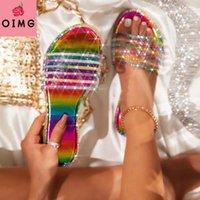 Summer al aire libre al aire libre zapatillas de playa de alta calidad Moda hecha a mano Sexy Rhinestones romanos más tamaño para mujer plana