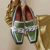 2021 Summer Women Chunky Pumps Thick High Heel Slip-On Waterproof Loafers Shoes Casual Vintage Square Toe Ladies Suit Shoes