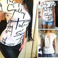 CEODOGG Yeni Gömlek Kadın Moda Marka Kadınlar Harfler Baskı T Gömlek Kısa Kollu Rahat Pamuk T-Shirt Tshirt Lady T200528 Tops