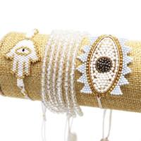 Pulsera Pulseras de ojo malvadas para mujeres Joyería hecha a mano Hamsa Pulseras Moda Moda Cristal Tassel Regalos Venta al por mayor Charm