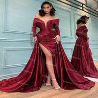 Dubai Arabic Mermaid Evening Dress Overskirt Tail Off The Shoulder Long Sleeve Burgundy Prom Dresses With Slit Plus Size Formal Skirt robe de soirée mariage