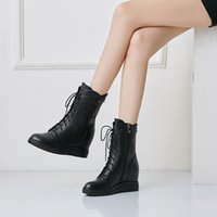 One Piece Dropshipping Fall Winter 2020 New Mid Boots Genuine Leather Elevator Womens Shoes round Toe Wedge Platform Martin Boots