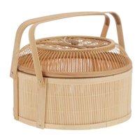 Cestas de almacenamiento 1pc Tarjeta de tejido Cesta Tradicional Bambú Fruit Moon Pastel