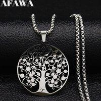 Para la moda Steel Tree of Necklace Life Life inoxidable Color Silver Color Collares Joyas Acero Inoxidable Joyeri