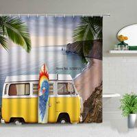Shower Curtains Car Travel Swim Ring Surfboard Camper White Curtain Set Waterproof Polyester Bathroom Fabric For Bathtub Decor