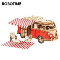 Kit di costruzione Robotime Rokr Camper Van Block Block in legno Puzzle Car Model Giocattoli per bambini Bambini MCB01 Q1119