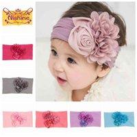 Nishine Soft Stretch Satin Rose Flower Bambino Fascia Neonato Nodo Ampia Nylon Headwraps Turban Girls Headwear Bambini Popolare Pops
