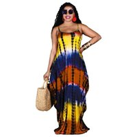 1Women Tie Dye Long Sling Dress Summer Fashion Loose Beach Female Elegant Maxi Big Swing Sexy Sleeveless Dresses Vestidos Casual
