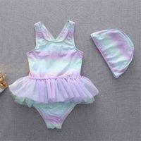 أزياء الأطفال ملابس الأطفال السحرية قطعة واحدة الباليه الأميرة الدانتيل تنورة الاطفال طفل الفتيات قطعة واحدة ملابس السباحة ملابس السباحة مع السباحة كاب G60N2OK
