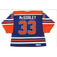 Özel Bay Gençlik Kadın Vintage # 33 Marty McSorley Edmonton Oilers 1987 CCM Hokey Jersey Boyutu S-5XL veya Özel Herhangi Bir Ad veya Numara