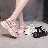 Damen Platform Sandalen Sommer Koreanische Stil Casual Back Strap Stick Pearl Fee