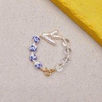 Beaded, Strands Creative Asymmetric Design Bracelet Blue Ceramic Bead Transparent Bangle For Man Women Natural Shaped Pearl Jewelry Pulseir