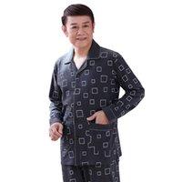 Masculinos sleepwear padrões geométricos homens roupas homem pijama conjunto completo de algodão puro de mangas compridas coreanas Colar Cardigan Masculino Homewear