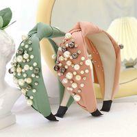 Mode Perle Stirnband Für Haare Frau Feste Farbe Kreuz Geknotete Haarbänder Reisen Elastische Band hergestellt aus Haarschmuck Kopfschmuck