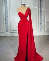 Elegant Red Mermaid Evening Dresses One Shoulder Long Sleeve Dubai Arabic Side Split Prom Dress Vestidos De Fiesta