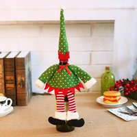Christmas Red Wine Bottle Cover Xmas Decor Polka Dot Stripe Wine Bottle Bags For Home Party Decorations Supplies OWD10385