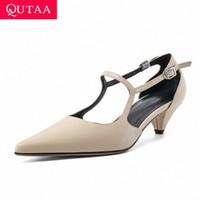 QUTAAA 2020 Sexy Punta de punta hebilla para mujeres Sandalias Square Tacón de talla Moda zapatos de cuero de vaca Mujeres de verano Bombas Tamaño 34 39 Zapatos lindos Sandalias de cuero S71V #