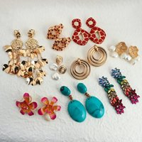 Boho Big Flowers Drop Earrings for Women Crystal Gold Metal Geometric Square Long Tassel Sieraden Pendiente Dangle Kroonluchter