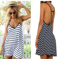 Casual Dresses Summer Dress Black And White Stripes Backless Women Clothes