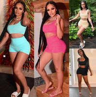 Verão Womens Designer Curto Outfits Moda Lazer Slim 2 Piece Sets TRCACKSUIT SOLIDOR SENHORAS SHORTSWear terno 4350