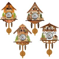 Wooden Cuckoo Wall Clock Bird Time Bell Swing Alarm Watch Home Art Decor Germany Black Forest Auto Swinging Clocks