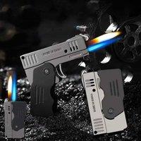 Creative Metal Double Fire Deformation Pistol Butane Gas Lighter Free Jet Torch Windproof Flint Funny CIgar Gift H0916