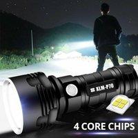슈퍼 밝은 P70 LED 전술 토치 USB 충전식 Linterna 방수 램프 울트라 야외 랜턴 캠핑 손전등 토치