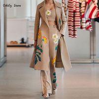 Frauen Zwei Stück Hosen Frauen Lange Trenchcoat Sets Herbst Winter Mode Temperament Print Blume Windjacke Wide Beinanzug