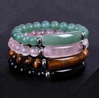 Fashion Brand Luxury Natural Stone Healing Crystal Stretch Beaded Bracelet Women Men Handmade Precious Tiger-eye green Dongling Bracelets