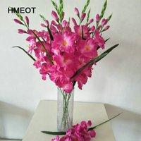 HMEOT 70 سنتيمتر محاكاة gladiolus الأوركيد النباتات الاصطناعية حفل الزفاف الاحتفال الرئيسية بوعاء زخرفة زهرة وهمية