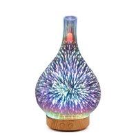 가벼운 구슬 3D-001 미니 LED 공기 청정기 1000ml 초음파 가습기 불꽃 놀이 디자인 다채로운 에센셜 오일