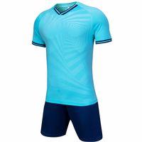 بحيرة الأزرق الكبار لكرة القدم الفانيلة كرة القدم الملابس مجموعات قصيرة الأكمام رياضية جيرسي