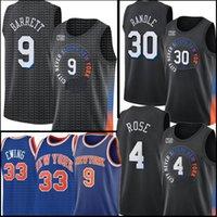 2021 RJ 9 Barrett Júlio 30 Randle Derrick 4 Rose Jersey Retro Malha Patrick 33 Ewing Jerseys Black Basketball Jerseys