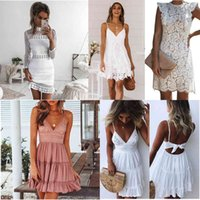 9 Colors Elegant hollow out lace dress women ladies sexy sleeveless summer midi white dress spring short casual hollow party evening dresses