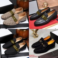 Brand Men Dress Shoes Shoes Flat Donne Shoe Casual Shoe di Alta Qualità Business Ufficio Oxfords Genuine Pelle Designer Metal Fibbia in metallo Mocassini in pelle scamosciata
