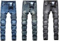 Jeans d'homme homme denim designer moto moto droite moto pour l'automne printemps punk rock streetwear riding genou garde pantalon de mode