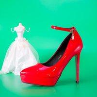 أحذية اللباس Hengscarying Official Store المرأة عالية الكعب النهائي مثير كعب منصة 12 سنتيمتر حذاء الزفاف واحد