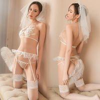 Soutes de soutien-gorge de lingerie érotique porno femmes blanc maille sexe cosplay costumes costumes mariée sexy uniforme robe sous-vêtements bâillonnons