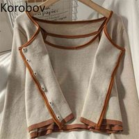 Korobov Arrival Cardigans and Tank Top 2 Pieces Sets Korean O Neck Single Breasted 2 Outfits Sweet Female Suits 210809