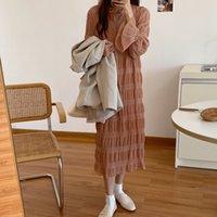 Lien Kitty Koren Csul Verstile Inverno Inverno Manga Longa Pleted LCE Vestido 2021 Mulheres Tle Elegnt Pescoço Vestido