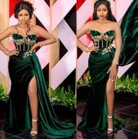 Emerald Green African Prom Party Dresses Sexy Szczurki Sweetheart Arabski ASO EBI Velvet Plus Size Wieczór okazja Suknia Nosić