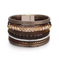 Charm Bracelets Creative Leather Bohemian Multilayer Wide Wrap Bangle Hand-woven Women Cuff Handmade Bracelet Jewelry